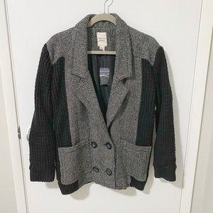 NWT Forever 21 Herringbone Sweater Knit/Wool Blend Blazer Peacoat, Gray/Black S